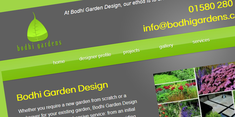 Web design for Bodhi Gardens