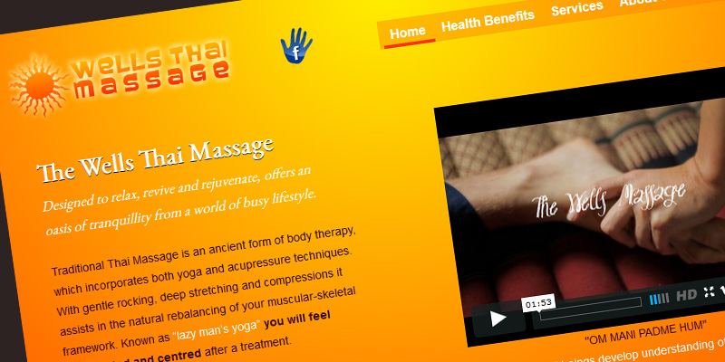 Web design for The Wells Thai Massage